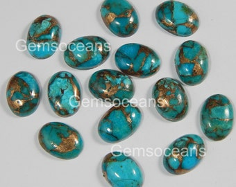 10 Pieces Lot Blue Copper Turquoise 6X8 mm Oval Shape Gemstone Cabochon