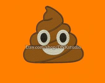 Poop Emoji Emoticon Machine Embroidery Design - 7 Sizes - INSTANT DOWNLOAD