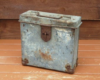 Vintage Movie Reel Box, Antique Film Reel Case, Galvanized Metal Box, Galvanized Field Case, Industrial Storage Box, Movie Reel Case