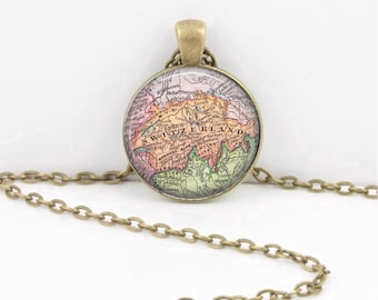 Switzerland Europe  Vintage Map Geography Gift  Pendant Necklace or Key Ring