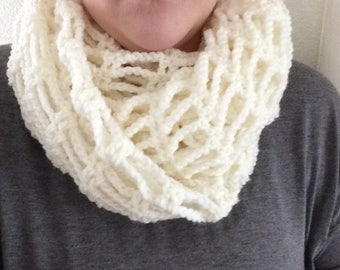 Cream Convertible Infinity Scarf | Button Tie Embellishment | Infinity Scarf | Cream Scarf | Fashion Scarf | Crochet Scarf