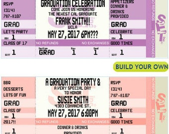 Graduation Party Ticket Invitations- Authentic & Personalized- QTY 20