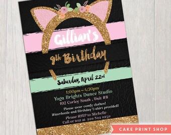 Kitten birthday invite, Kids Kitty Cat birthday, Cat ears birthday invite, glitter invitation, Cat themed invite, Kitten birthday invite