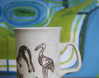 Vintage Indigenous cave drawings  Pottery Ceramics Coffee Mug Made in Australia