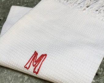 French Vintage 'M' Monogrammed Towel, Tea Towel, Kitchen Towel