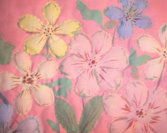 Painted and Quilted Pillow Cover - Pinks, Blues, Yellows