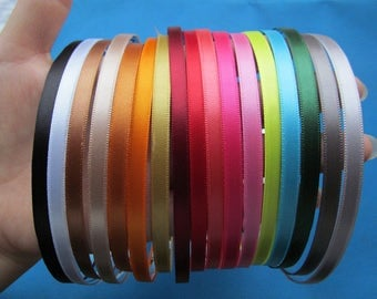 5mm Wide Metal Headband Hairband Pendant Charm Finding,Sticked Colorful Ribbon Outer, DIY Fashion Accessory Jewelry Making