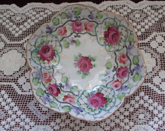 Hand Painted Roses Footed Candy/Bonbon Dish/Japan/Early 20th Century #16200