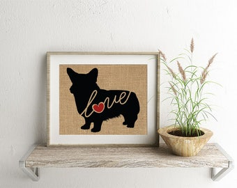 Welsh Corgi Love - Burlap or Canvas Paper Dog Breed Wall Art Home Decor Print Gift for Dog Lovers - Can Be Personalized with Name (101s)