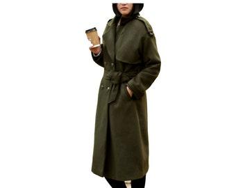 Fashion wool military coat army green