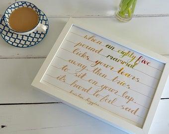 Handmade Framed Quotation - Dog Lover's gift - Kristan Higgins
