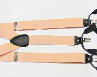 Combination  Suspender / Braces   Set Wear Pant Buttons Or Clips All Provided Light Peach Apricot  In Color