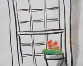 ORIGINAL Sumi and soft pastel Window with Geraniums, original artwork, gift