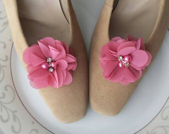 Flower Shoe Clips, Pink, Red Rose, Custom Bridal Wedding Shoe Accessory, Photo Prop, Prom, Flower Girl, Bridesmaid Gift, Mother, Chiffon