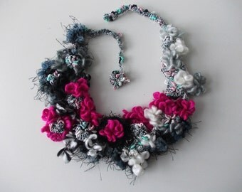 Frozen garden... Gray, pink, black, white necklace... colorful handmade crochet chunky necklace, fiber necklace, crochet statement jewelry.