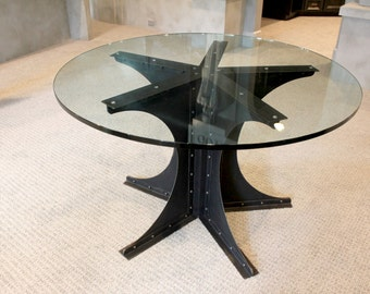 Modern Industrial Steel Game Room Table | Gotham Theme Poker Glass top | Theater Room | Breakfast