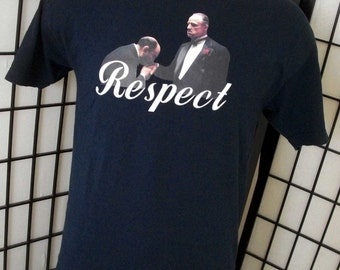 """The Godfather """"Respect"""" movie adult black cotton tee shirt l"""