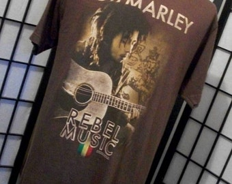 Vintage Bob Marley Rebel Music brown tee shirt large