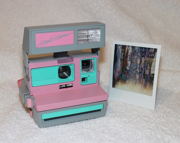 Pink CoolCam 600 Polaroid Camera Upcycled with Retro Green - Cleaned and Tested