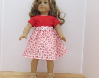 """Red and white 18"""" doll dress II"""