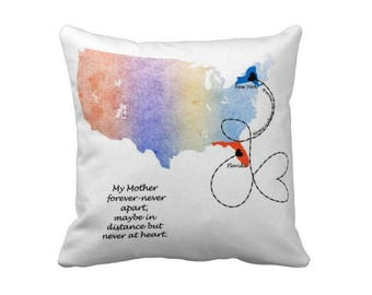 Long Distance Map Pillow, Personalized mothers day gift, Long Distance family, Long Distance Relationship, Gift for mom, mothers day gift