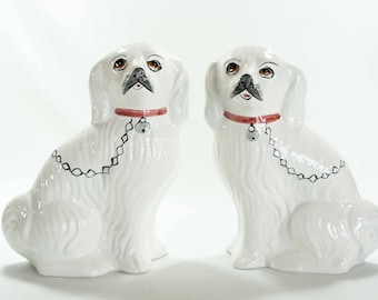 Pair of Portugal Portuguese Pottery figurine Pekingese Dogs Hand Painted