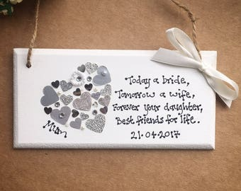 Personalised Mother of the Bride Gift Plaque Gift Wedding Mother Mum