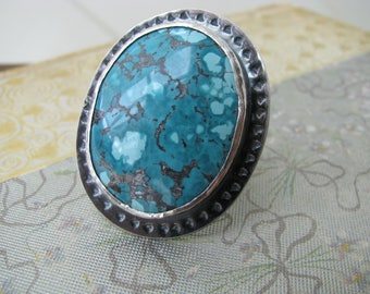 Big turquoise statement ring, turquoise jewelry, hand forged stone ring, sterling silver and turquoise ring, luxe boho, bohemian jewelry