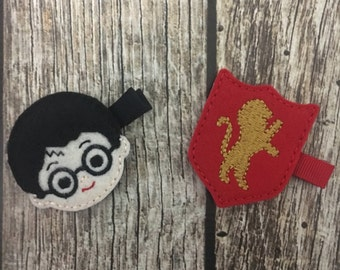 Harry Potter clips, girls hair clips, Harry Potter alligator clips, felt hair clips, Harry Potter,