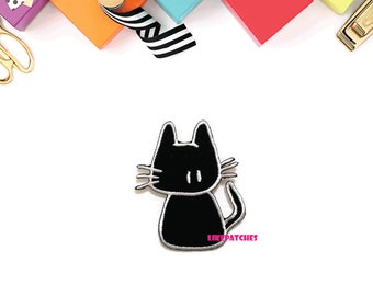 Black Cat Turn Back - Black Cat - Cat Patch New Sew / Iron On Patch Embroidered Size 5.6cm.x6.7cm.
