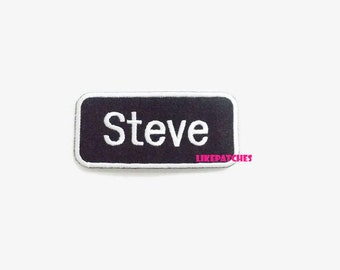 Steve Iron On Patch Name Patches Tag Patch Sew on / Iron On Patches Embroidered Patch Iron On Appliques Cute Patches Size 8.6cm.x3.9cm.