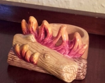 Vintage Ceramic fireplace hearth with flames matchstick dish