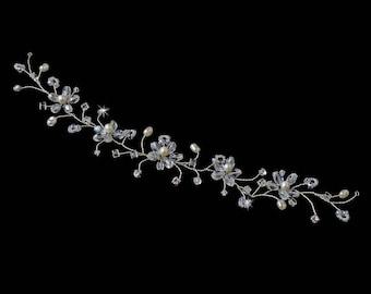 Bridal Crystal & Pearl Bridal Flower Hair Vine Headband Headpiece
