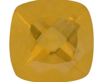 Canary Yellow Fluorite Cushion Cut Loose Gemstone 1A Quality 10mm TGW 4.00 cts.