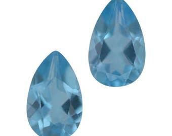 Swiss Blue Topaz Loose Gemstone Pear Cut Set of 2 1A Quality 8x5mm TGW 1.65 cts.