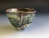 Tea Bowl in Rusted Steel Glaze, Hand Built Porcelain Art Vessel with a Masculine Feel.  Great for Matcha Tea.  3 in tall, 10 oz. Food Safe