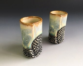 Shot Glass Set of Two in Blue Crystalline Glaze, Small Porcelain Cups with Hand Carved Details, Unique Gift Idea. 3.25 in tall.  Food Safe.