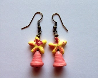 Paper beads with a Star fish fimo bead Earrings. #1817