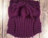 Custom Wool Soaker - Hand Knit Wool Soaker - Wool Diaper Cover - Purple Cover - Gray Wool Diaper Cover