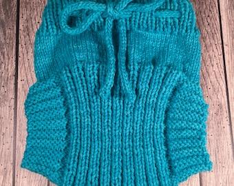 Custom Wool Soaker - Hand Knit Wool Soaker - Wool Diaper Cover - Diaper Cover - Aqua Wool Diaper Cover