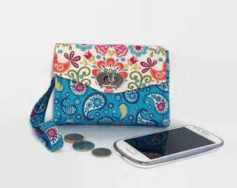 Mini Clutch Purse with wrist strap, Wallet, Paisley, Butterfly, Necessary Clutch, Coin purse, Credit Card Holder, Mothers Day, gifts for her
