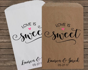 Love is Sweet, Wedding Favors, Candy Bags, Candy Bar Buffet Bags, Rustic Wedding, Popcorn Bags, Custom Wedding Favors, Candy Bags, Kraft 184