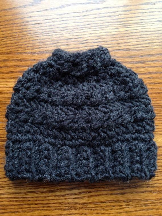 Messy bun hat for Kathy black/ charcoal