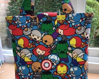Kawaii babies Avengers print reversible tote with Kawaii babies Avengers reverse - new print for 2016