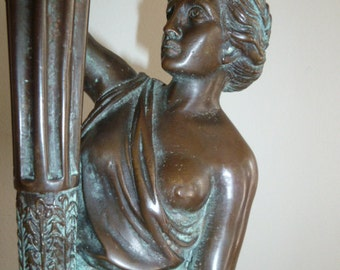 Neo Classical Greco Roman partly nude woman bronze sculpture with torch 1950