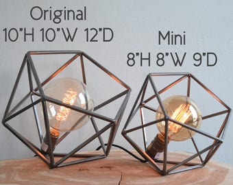 "The ""Mini"" Mercedes Geometric Table Lamp, Pearl Pewter Table Lamp with Edison Globe Bulb"