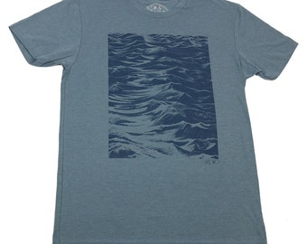 SEASIDE - Men's T-shirt - Indigo t-shirt - Discharge print - Ocean surface - original art - zen design - waterman gift - by uroko - limited