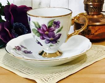 Vintage Footed Demitasse Tea Cup and Saucer Set Spring Violets Purple Japan