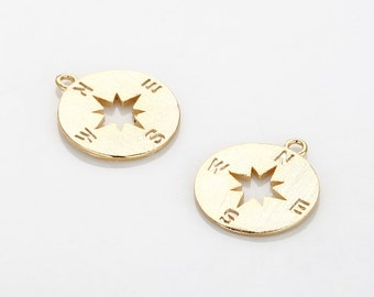 Satin Compass Pendant Polished Gold -Plated - 2 Pieces [P0610-SPG]