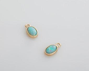 Mint Opal Pendant, Opal Oval gemstone, Dainty pendants, Opal Charm Polished Gold Plated - 2 ...
